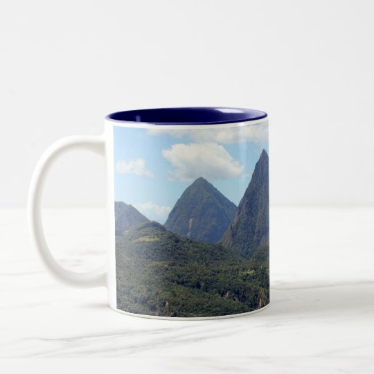 The Pitons and Soufriere Two-Tone Coffee Mug