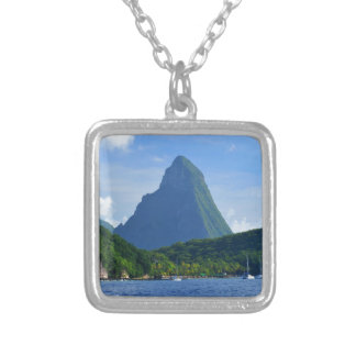 The Pitons in Saint Lucia Silver Plated Necklace
