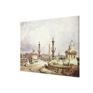 The Place de la Concorde, c.1837 Canvas Print