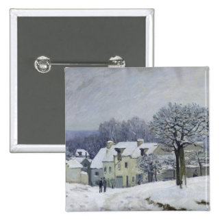 The Place du Chenil at Marly-le-Roi, Snow, 1876 Pinback Button