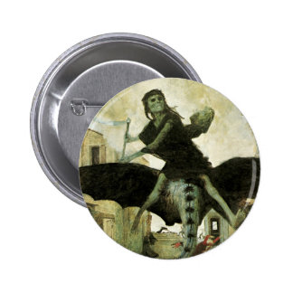 The Plague by Arnold Bocklin, Vintage Symbolism 2 Inch Round Button