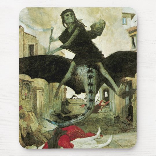 The Plague by Arnold Bocklin, Vintage Symbolism Mouse Pad