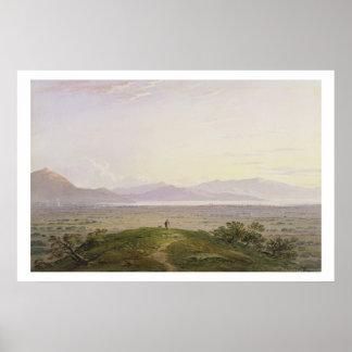 The Plains of Marathon, 1834 (graphite & w/c with Poster