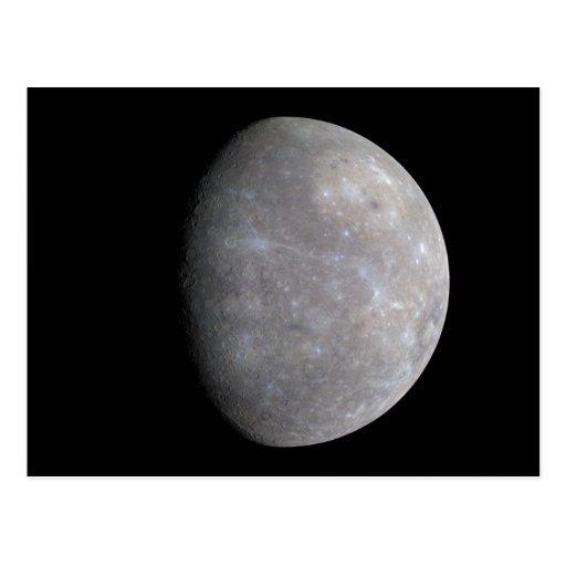 The Planet Mercury Taken by the Probe Messenger Postcard