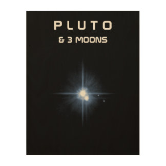 The Planet Pluto & 3 Moons Wood Wall Art