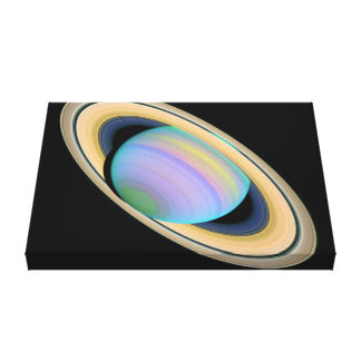 The Planet Saturn In Ultraviolet Canvas Print