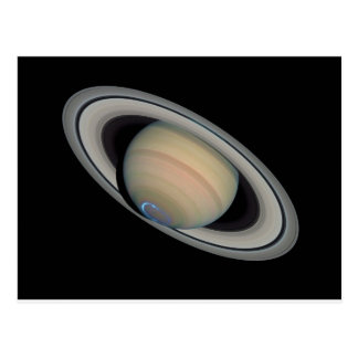 The Planet Saturn with Southern Hemisphere Auroras Post Card