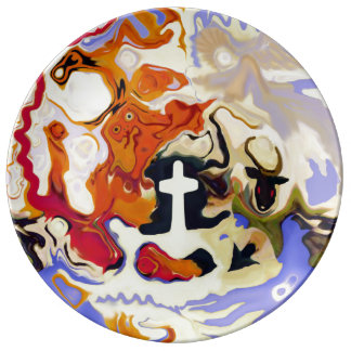 """""""The Plate of Good & Evil"""" Porcelain Plate"""