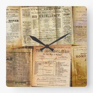 The Playbills Square Wall Clock