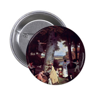 The Playground By Jacques Laurent Agasse (Best Qua Pinback Button