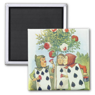 The Playing Cards Painting the Rose Bush 2 Inch Square Magnet