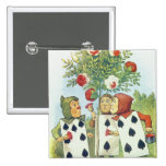 The Playing Cards Painting the Rose Bush 2 Inch Square Button