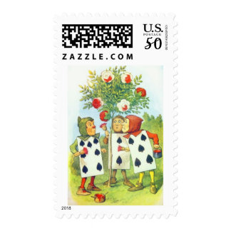 The Playing Cards Painting the Rose Bush Postage