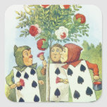 The Playing Cards Painting the Rose Bush Square Sticker