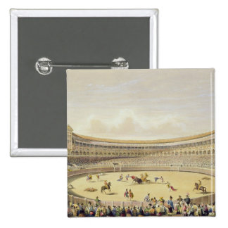 The Plaza de Toros of Madrid, 1865 (colour litho) 2 Inch Square Button