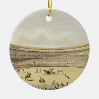 The Plaza de Toros of Madrid, 1865 (colour litho) Ceramic Ornament