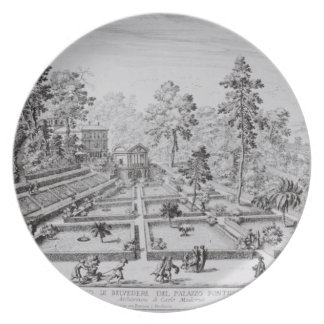 The pleasure garden and Pavilion of Pope Pius IV Dinner Plate