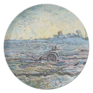 The Plough and the Harrow by Vincent Van Gogh Dinner Plate