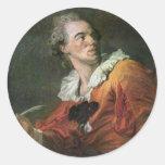 The Poet By Fragonard Jean-Honoré (Best Quality) Round Sticker