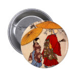The poet Yacuren and a companion strolling Pinback Button