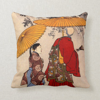 The poet Yacuren and a companion strolling Throw Pillow