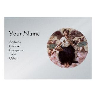 THE POETRY Monogram,Platinum Metallic, Black Large Business Card