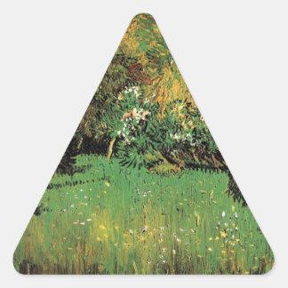 The Poet's Garden by Vincent van Gogh. Triangle Sticker