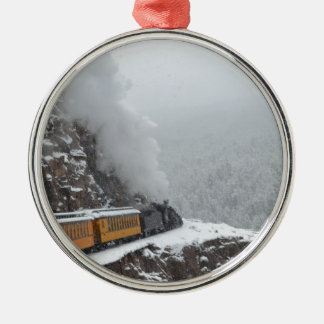 The Polar Express Rounds the Bend Metal Ornament