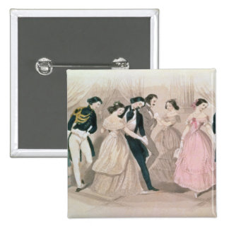 The Polka Fashions, from Godey's Lady's Book Button