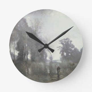 The pond at Ville d'Avray, 1868 (oil on canvas) Round Wallclocks
