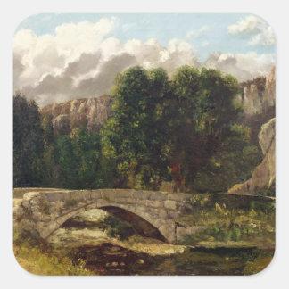 The Pont de Fleurie, Switzerland, 1873 Square Sticker
