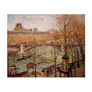 The Pont du Carrousel, Afternoon Camille Pissarro Postcard