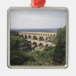The Pont du Gard Square Metal Christmas Ornament