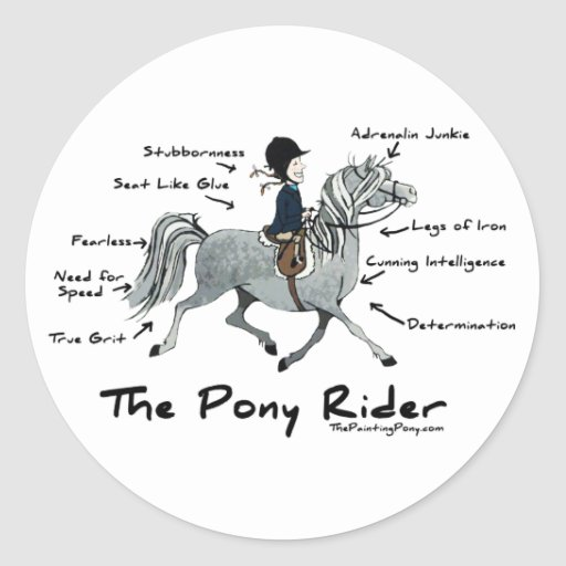 The Pony Rider Round Stickers
