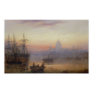 The Pool of London at Sundown, 1876 Poster