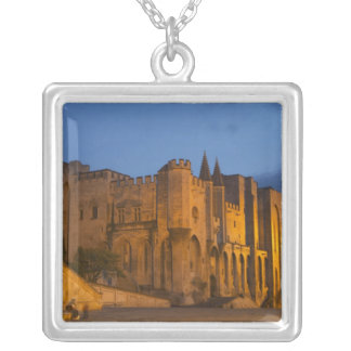 The Pope's Palace in Avignon at sunset. Built Square Pendant Necklace