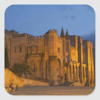 The Pope's Palace in Avignon at sunset. Built Square Sticker