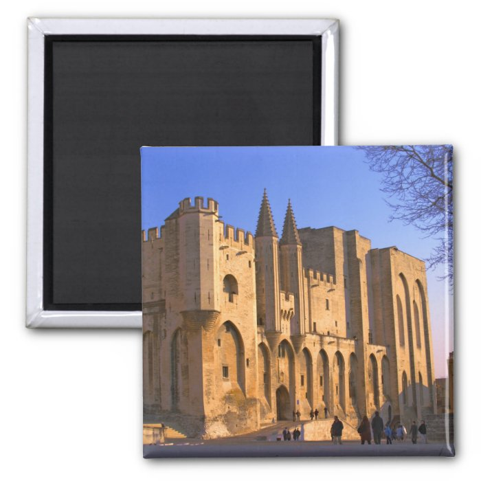 The Pope's Palace in Avignon with people 2 Inch Square Magnet