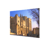 The Pope's Palace in Avignon with people Stretched Canvas Prints