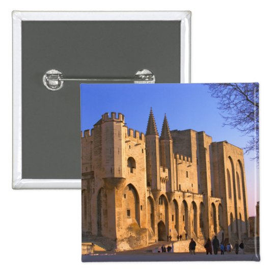 The Pope's Palace in Avignon with people Pinback Button