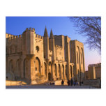 The Pope's Palace in Avignon with people Post Cards