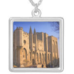 The Pope's Palace in Avignon with people Square Pendant Necklace