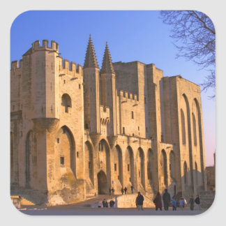 The Pope's Palace in Avignon with people Square Sticker