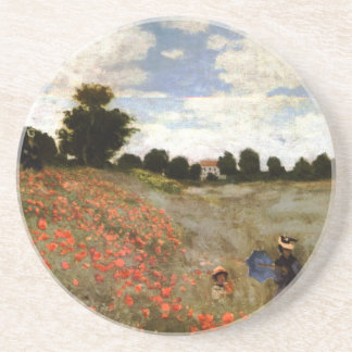 The Poppy Field near Argenteuil by Claude Monet Drink Coaster