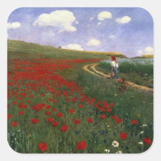The Poppy Field Square Sticker