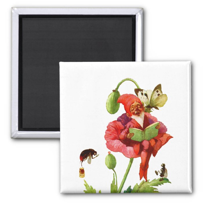 The Poppy Gnome 2 Inch Square Magnet