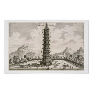 The Porcelain Tower, from an account of a Dutch Em Poster