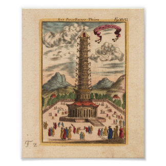 The porcelain Tower, Japan Mallet 1719 Poster