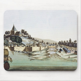 The port and town of Malacca, Malaysia, illustrati Mouse Pad