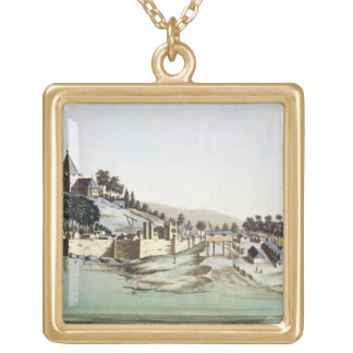 The port and town of Malacca, Malaysia, illustrati Necklace